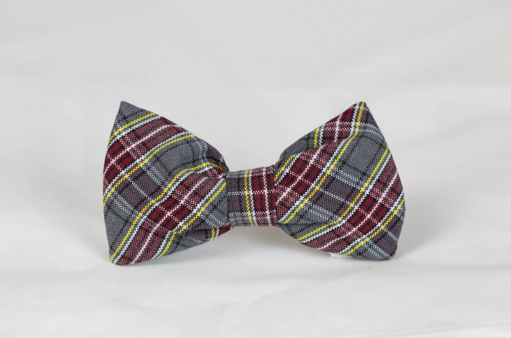 Maroon and Gray Plaid Dog Bow Tie--Baylor School
