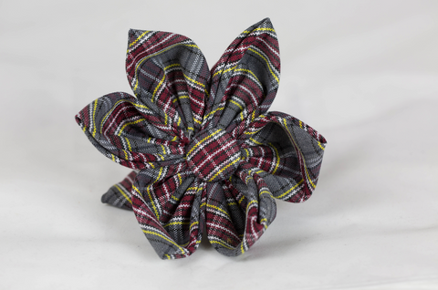 Maroon and Gray Plaid Girl Dog Flower Bow Tie--Baylor School