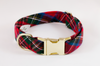 Red Scottish Tartan Plaid Dog Collar