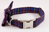 Blue Plaid School Boy Bow Tie Dog Collar