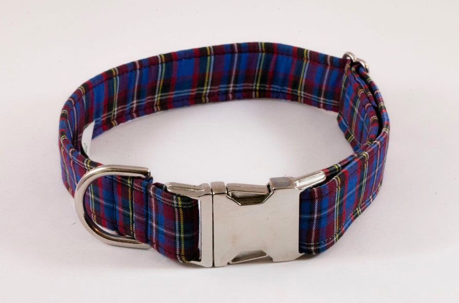 Blue Plaid School Boy Dog Collar