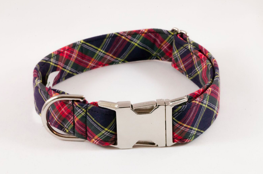 Classic Black and Red Tartan Plaid Dog Collar
