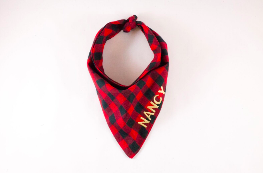 Red and Black Buffalo Check Monogrammed Dog Bandana