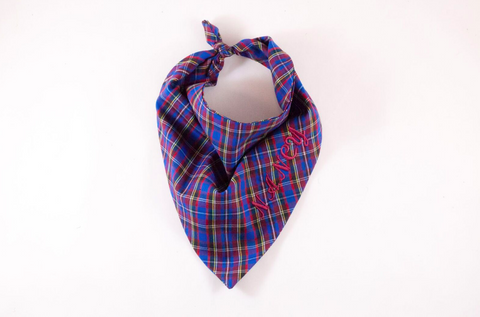 School Boy Plaid Monogrammed Dog Bandana