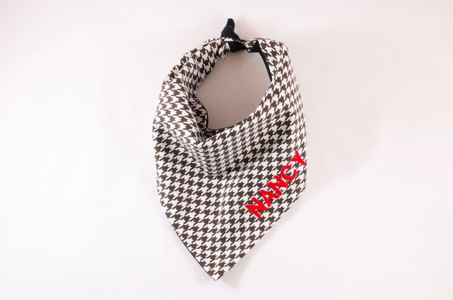 Black and White Houndstooth Monogrammed Dog Bandana