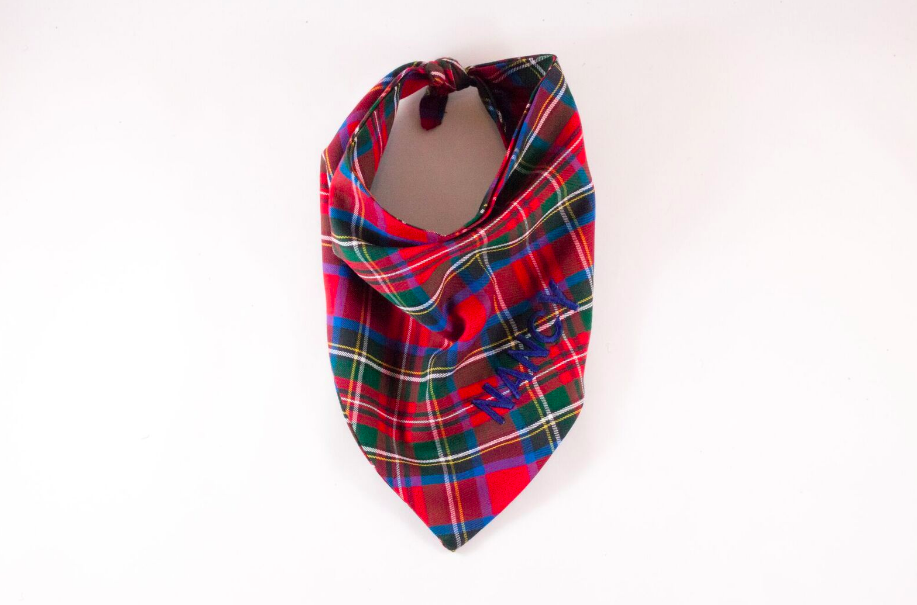 Red Holiday Tartan Plaid Monogrammed Dog Bandana