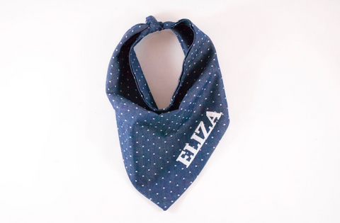 Chambray Denim Polka Dot Monogrammed Dog Bandana