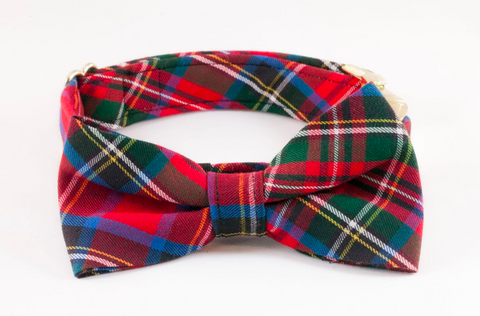Red Scottish Tartan Plaid Bow Tie Dog Collar