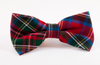 Red Scottish Tartan Plaid Dog Bow Tie