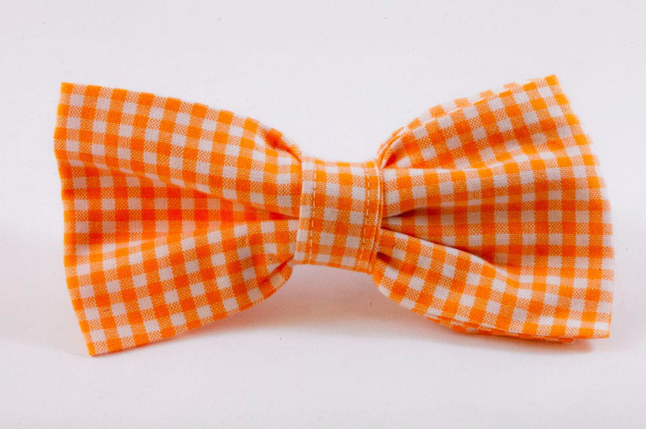 Preppy Orange and White Gingham Dog Bow Tie