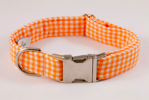 Preppy Orange Gingham Dog Collar