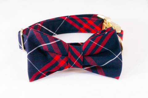 Navy and Red Old South Plaid Dog Bow Tie Collar