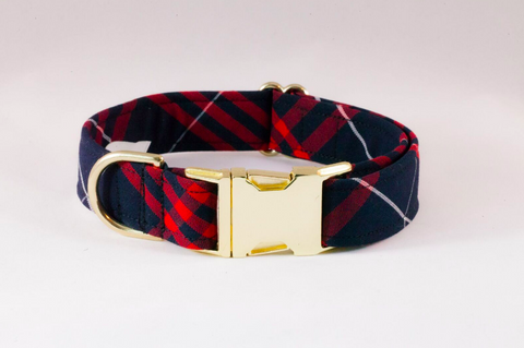 Navy and Red Old South Plaid Dog Collar