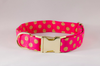 Valentine's Day Pink and Gold Polka Dot Girl Dog Flower Bow Tie Collar