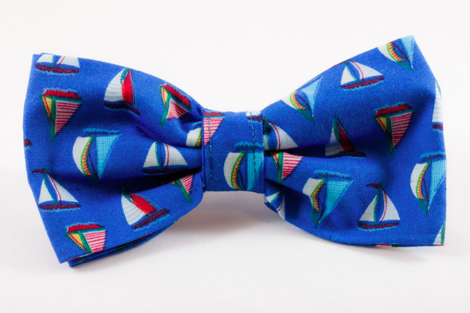 Nautical Sailboat Dog Bow Tie
