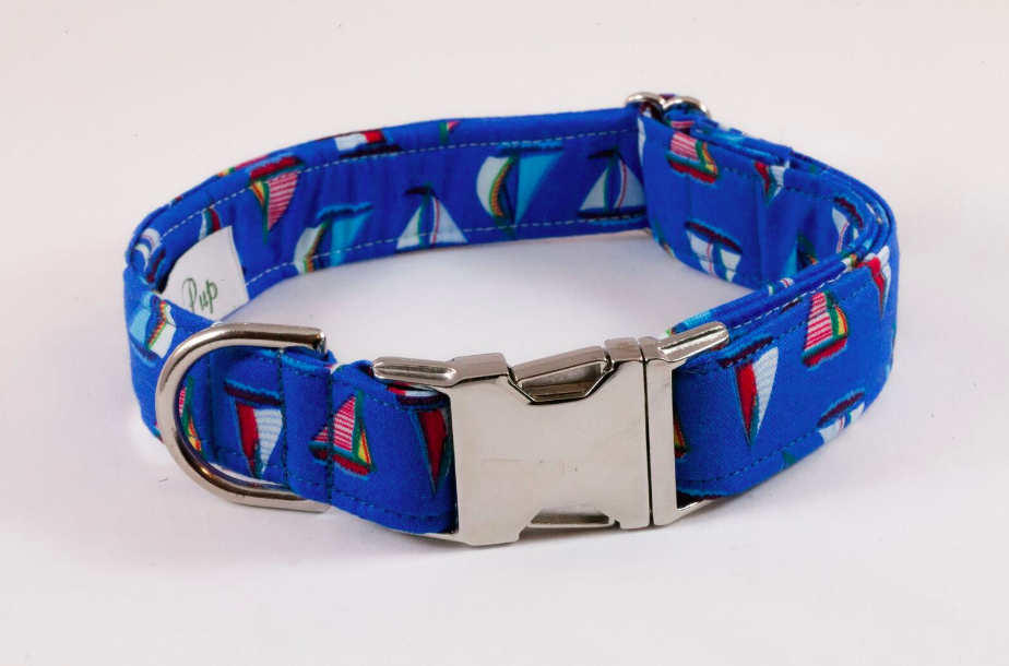 Nautical Sailboat Dog Collar