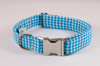 Preppy Aqua Blue Gingham Dog Collar