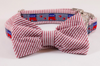 Repuplican Seersucker Bow Tie Dog Collar
