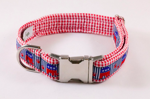 Repuplican Gingham Dog Collar