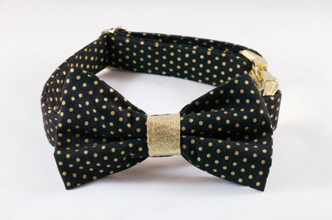 Black and Gold Polka Dot Bow Tie Dog Collar