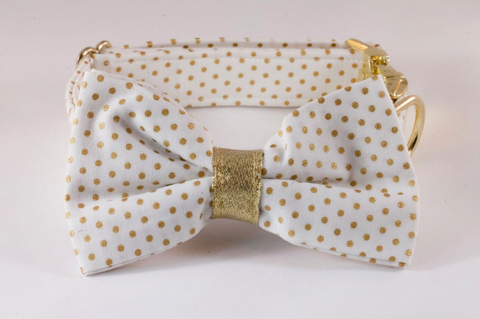 White and Gold Polka Dot Dog Bow Tie Collar