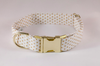 White and Gold Polka Dot Girl Dog Flower Bow Tie Collar