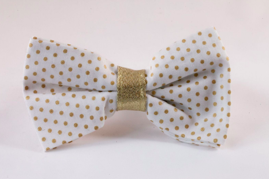 White and Gold Polka Dot Dog Bow Tie