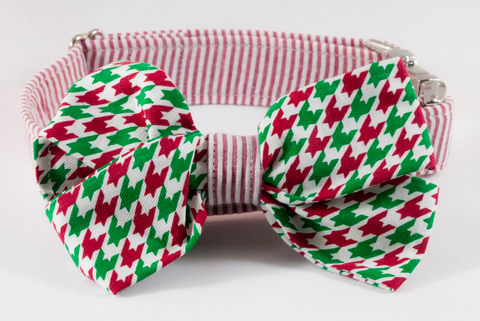Green and Red Christmas Houndstooth Seersucker Girl Bow Tie Dog Collar