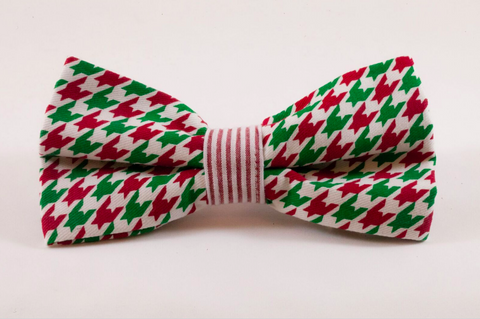 Green and Red Christmas Houndstooth Seersucker Dog Bow Tie
