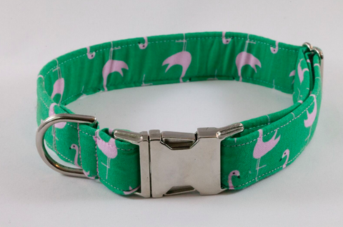 Preppy Green and Pink Flamingo Dog Collar