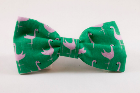 Preppy Green and Pink Flamingo Dog Bow Tie