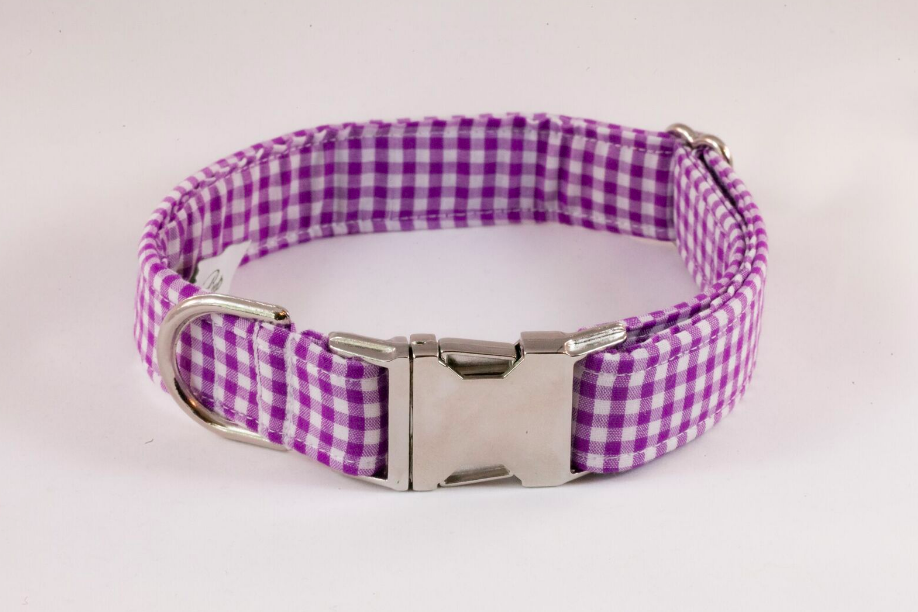 Preppy Purple Gingham Dog Collar