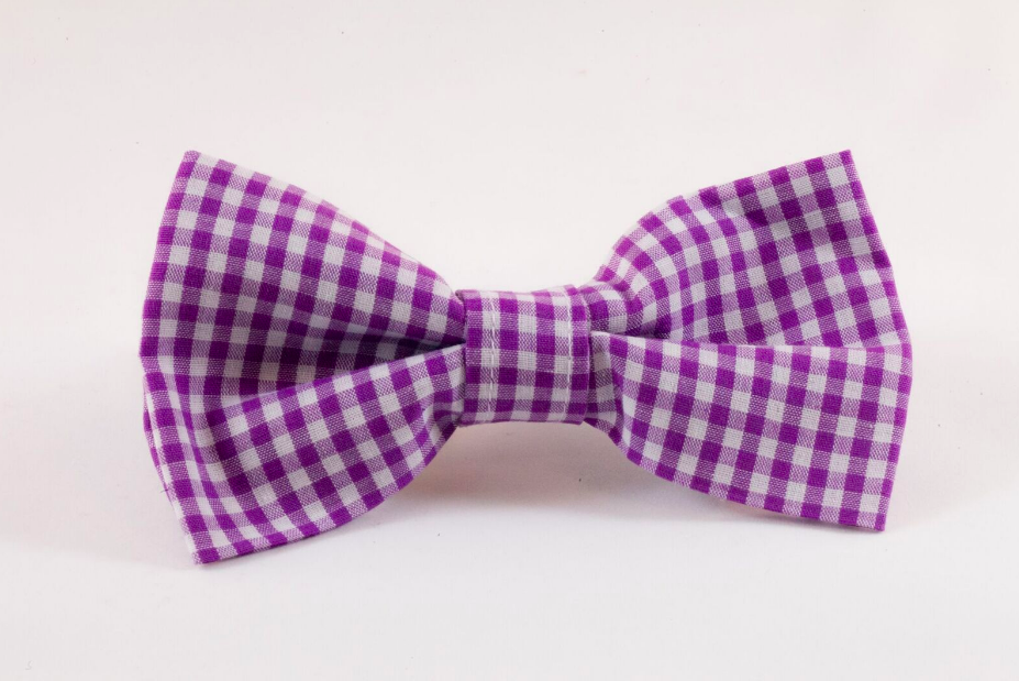 Preppy Purple Gingham Dog Bow Tie