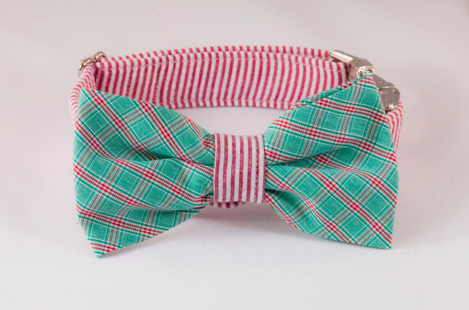 Green and Red Christmas Plaid Seersucker Bow Tie Dog Collar
