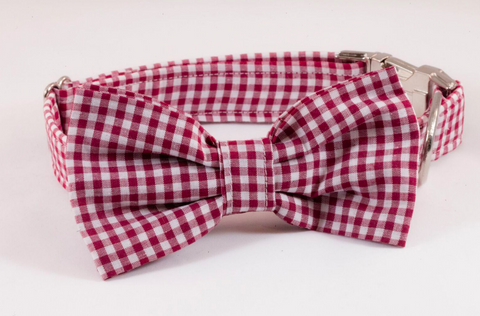 Garnet Gingham Dog Bow Tie Collar