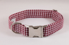Preppy Classic Garnet Gingham Seersucker Dog Collar