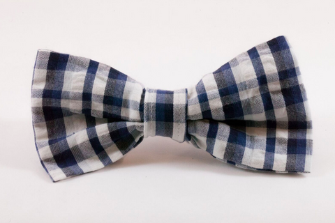Navy Madras Plaid Dog Bow Tie