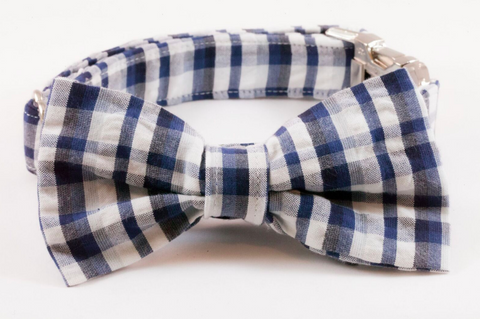 Navy Madras Plaid Bow Tie Dog Collar