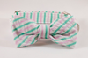 Preppy Pink and Green Seersucker Bow Tie Dog Collar