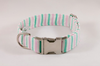 Preppy Pink and Green Seersucker Dog Collar