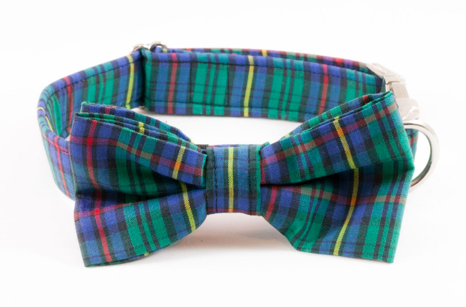 Tartan Plaid School Boy Bow Tie Dog Collar
