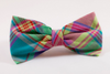 Preppy Pink Madras Plaid Bow Tie Dog Collar