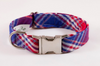 Red White and Blue Americana Plaid Dog Collar