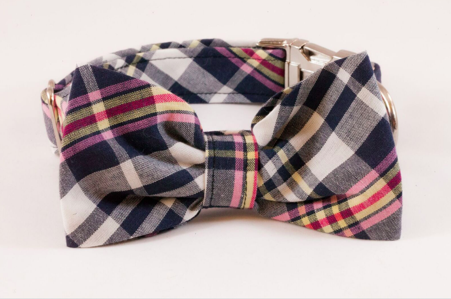 Navy and Pink Madras Bow Tie Dog Collar