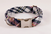 Navy and Pink Madras Dog Collar
