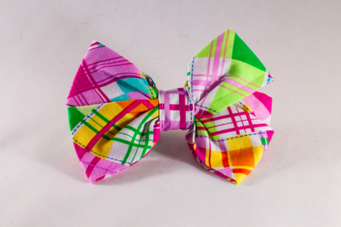 Preppy Pink and Yellow Madras Girl Dog Bow Tie