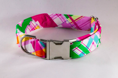 Preppy Pink and Yellow Madras Dog Collar