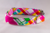 Preppy Pink and Yellow Madras Girl Dog Bow Tie Collar