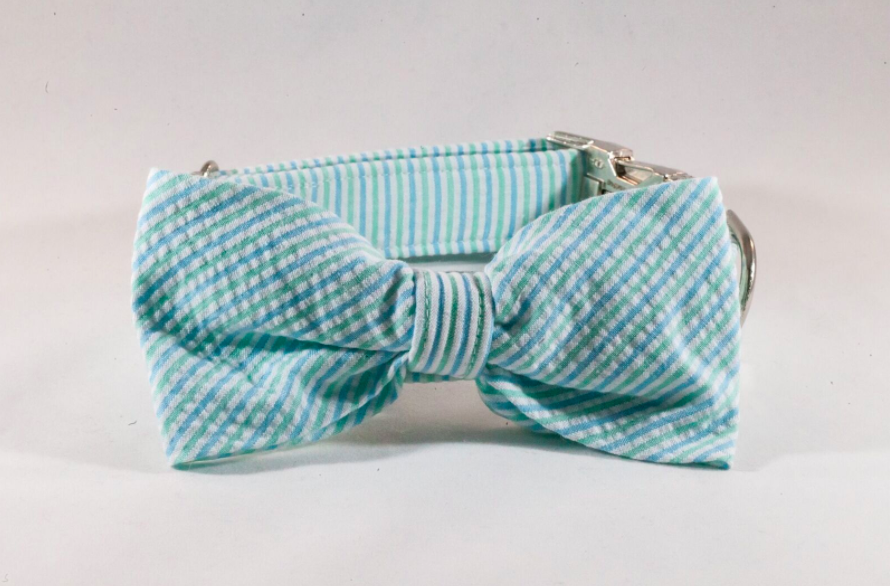 Preppy Mint Green Seersucker Bow Tie Dog Collar