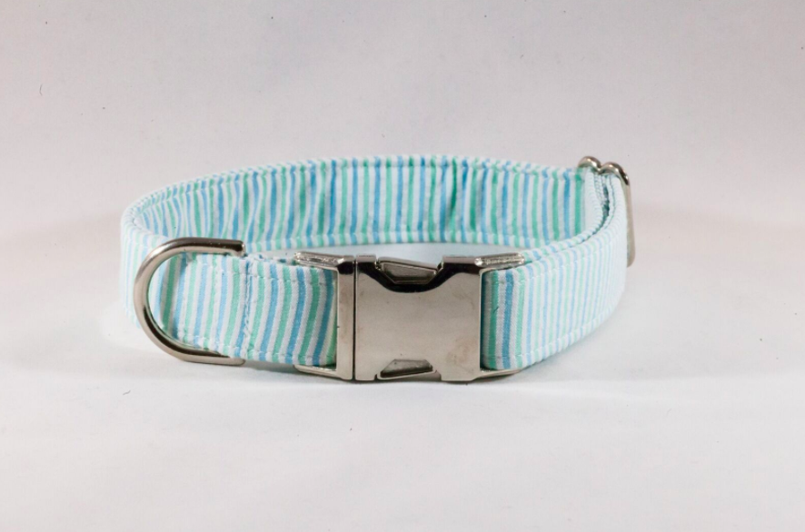 Preppy Mint Green Stripe Seersucker Dog Collar
